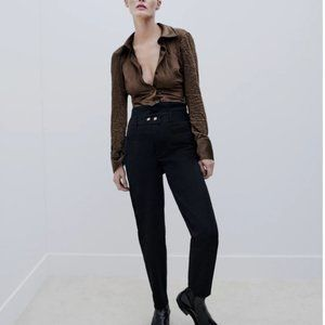 NWT ZARA BUTTONED BELTED PANTS